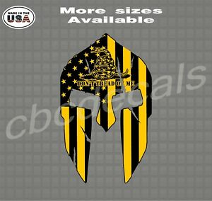 Spartan Helmet American Flag Don t Tread On Me Decal Patriotic Stickers
