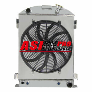 For 1937 1938 Ford Model A Chevy V8 Engine W Cooler 3 Row Radiator Shroud Fan