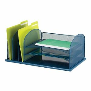 Desk Organizer Storage Office Supplies Steel Mesh File Holder Tray Paper Sorter