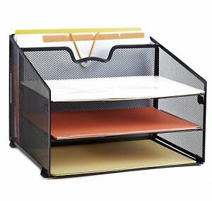 Desk Organizer Storage Office Mesh File Holder Triple Tray Paper Sorter Black