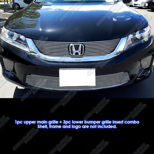 Fits 2013 2015 Honda Accord Coupe W Fog Light Cover Billet Grille Combo