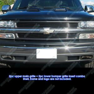 Fits 1999 2002 Chevy Silverado 1500 2000 2006 Tahoe Black Billet Grille Combo