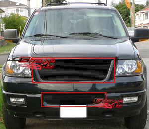 Fits 2003 2006 Ford Expedition Black Billet Grille Combo
