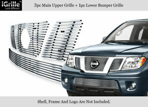 Fits 2005 2007 Nissan Pathfinder 05 08 Frontier Stainless Billet Grille Combo
