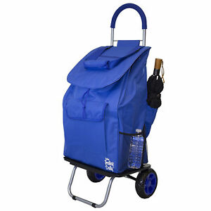 Blue Fabric Folding Shopping Cart Removable Grocery Bag Market Trolley Dolly New