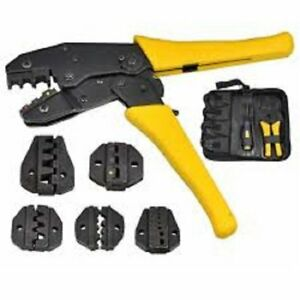 7 Pcs Crimping Tool Kit For Different Terminals With 5 Interchangeable Die Sets