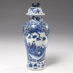 Chinese Blue White Jar And Cover Qing Dynasty