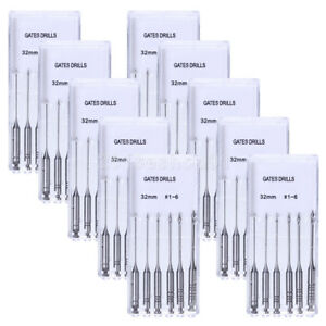60pcs 10 Kits Dental Stainless Steel Gates Glidden Drills 32mm 1 6 Engine Use