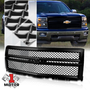 Black Abs Square Mesh Front Bumper Grille Grill For 14 15 Chevy Silverado 1500