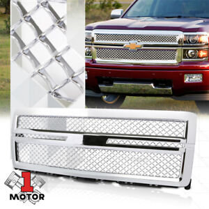 Chrome Abs Square Mesh Front Bumper Grille Grill For 14 15 Chevy Silverado 1500