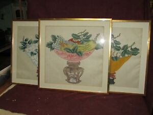 Old Or Antique Chinese Vase Flower Painting On Silk Floral Arrangements 3 Pcs
