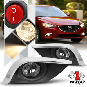 Clear Fog Light Lamp W Switch Harness Chrome Bezel Cover For 14 15 16 Mazda 6