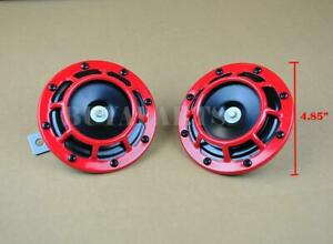 2x Red Loud Blast Tone Grill Mount 12v Electric Compact Car Horn For Honda Civic