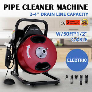 50ft 1 2 Drain Auger Pipe Cleaner Cleaning Machine W foot Switch Plumbing