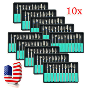 10 Boxes Tungsten Steel Dental Burs Lab Burrs Tooth Drill Handpiece Polisher Usa