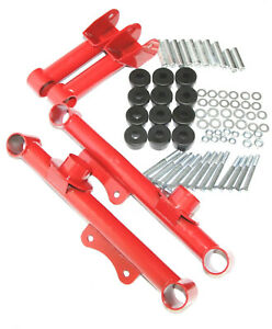 Red Racing Rear Upper And Lower Tubular Control Arms For 79 04 Ford Mustang