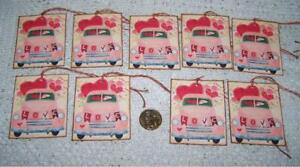 Valentine S Day Primitive Truck Hearts Linen Cardstock Gift Hang Tags