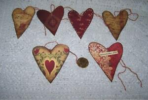 6 Valentine S Day Primitive Hearts Fussy Cut Linen Cardstock Gift Hang Tags