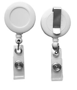 Lot 50 White Retractable Badge Reel Key Or Id Holder W Belt Clip