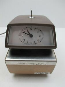 Amano 4746 Time Clock Date Stamp W Key Analog Design Quality Vintage Unit