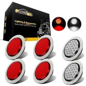 4 Inch 24 Led Round Stop backup reverse Truck Tail Light Kit 4 Red 2 White