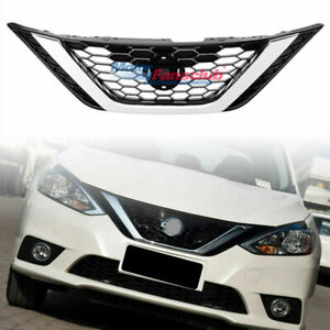 Chrome Abs Front Bumper Upper Grille Grill For Nissan Sentra 16 17 2016 2017
