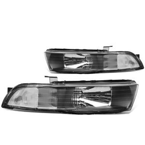 Pair Black Housing Clear Side Headlight lamps For 99 03 Mitsubishi Galant Lh rh