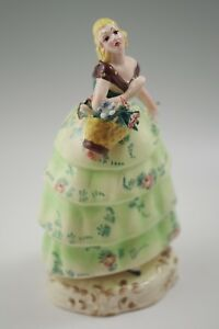 Art Deco Trevir Vicenza Italy Majolica 8 Girl With Basket Of Flowers Sculpture