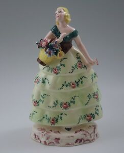 Art Deco Trevir Italy Ceramic 8 Young Lady With Basket Of Flowers Sculpture