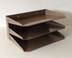 Vintage 3 tier Metal File Tray Desk Organizer Office Industrial In out