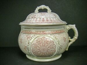 Antique Porcelain Chamber Pot With Lid Transferware Stoneware
