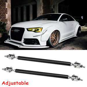 1 Pair Black Front Bumper Support Lip Struct Rod Bars Accessories Kit For Audi