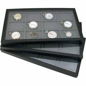 6 Jewelry Box Displays Trays Cases Gray Inserts