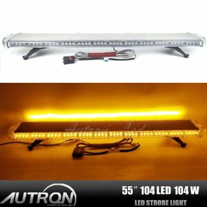 104w Amber Flashing Led Warning Strobe Light Bar Emergency Safety Tow plow Truck