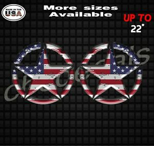 Set Of 2 Military American Flag Jeep Wrangler Star Decal Stickers With 3d Effect