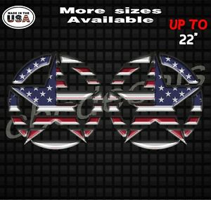 Set Of 2 Striped American Flag Jeep Wrangler Star Decal Stickers With 3d Effect