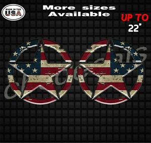Pair Distressed American Flag Jeep Wrangler Star Decal Stickers With 3d Effect