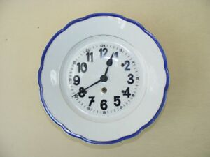 Beautiful Old Kitchen Clock Porcelain Wall 30er 40er Years Mechanical Watch