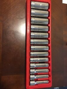 Snap On Tool Usa 6 point Deep long Chrome Socket Set Sae Standard 1 2flank Drive