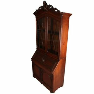 Antique Victorian Carved Walnut Drop Front Secretary With Upper Bookcase