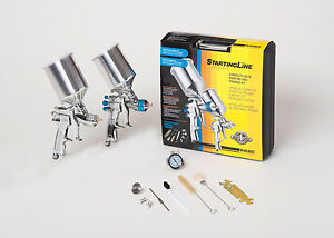 Devilbiss Spray Paint Gun Kit 802343 Hvlp 2 Full Size Guns New