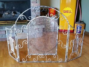 Antique Country Antique Finish Cottage Shabby Chic Fireplace Screen Gate Grate