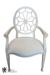 French Regency Style Spider Pinwheel Back Arm Chair White Cheetah Fabric Vintage