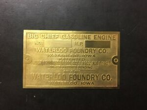 New Big Chief Waterloo Etched Brass Tag Antique Gas Engine Hit Miss