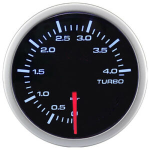 52 Mm Black Face White Led Back Light Electrical Auto Turbo Boost Gauge 0 4 Bar