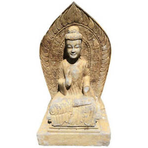 Important Chinese Antique Large Seated Stone Buddha Guan Yin With Inscription