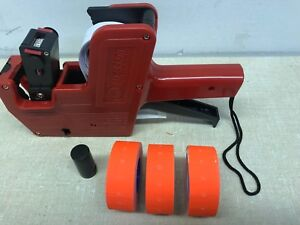 Mx 5500 8 Digits Price Tag Gun Labeler 3 Red Color Rolls 3x1200 Labels 1 Inker