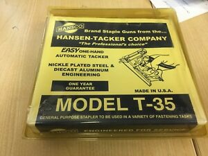 Vintage Hansco Hansen T 35 Staple Gun Tacker Stapler Pro New Old Stock In Box