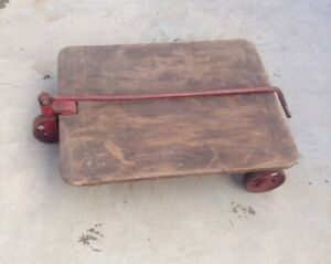 Vintage Industrial Factory Warehouse Dolly Railroad Cart Coffee Table Dining