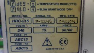 Global Plastic Moulding Supplies Hrc 215 Temperature Controller used